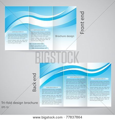 Tri-fold Brochure Design. Brochure Template Design  With Blue And White
