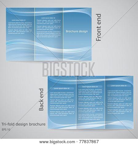 Tri-fold Brochure Design. Brochure Template Design  With Blue An