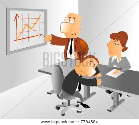 Dull business presentation