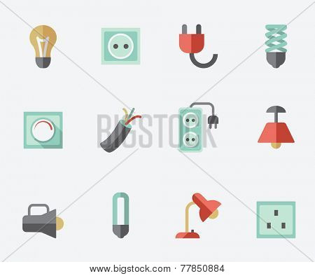 Electric accessories icons, flat design