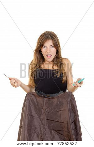 Angry Woman Hairdresser With Comb And Scissors Waiting Impatiently For Customer