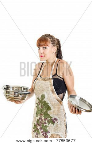 Insecure girl new in the kitchen with open pot wearing apron shrugging Modern woman housewife cooking concept poster