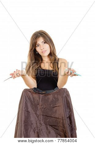 Sad Woman Hairdresser With Comb And Scissors Waiting Impatiently For Customer