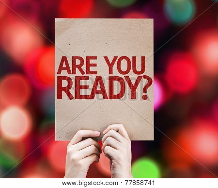 Are You Ready? card with colorful background with defocused lights