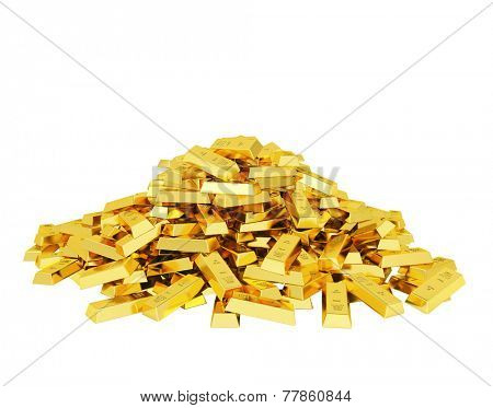 Heap of gold bars poster