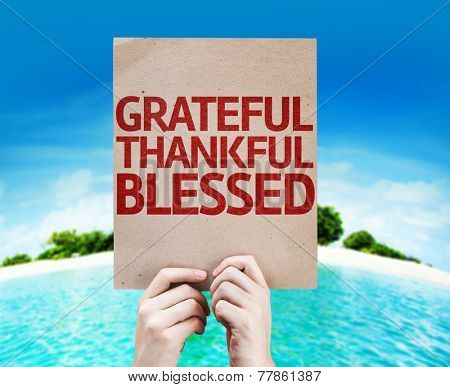Grateful Thankful Blessed card with a beach on background