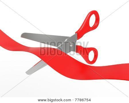 Scissors Cut A Red Tape