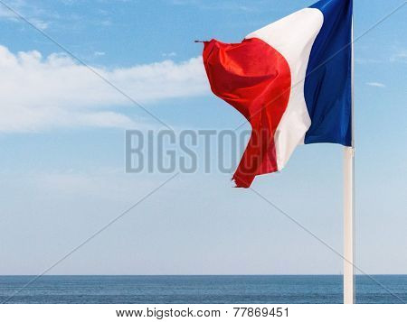 national flag of france, symbolic photo for patriotism, sovereignty, diplomacy