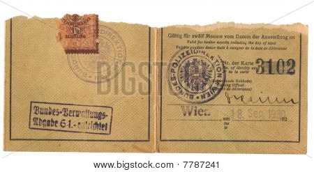 Fragment Of Vintage Identity Card (1930) With Official Stamp And Stamp Mark