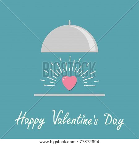 Silver Platter Cloche And Pink Shining Heart. Flat Design Style. Happy Valentines Day Card