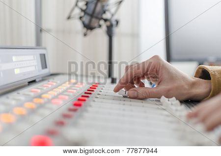 audio console in the studio