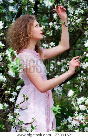 Lovely Woman In Flowers