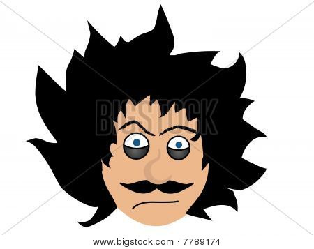 Man with crazy hair upset disturbed face