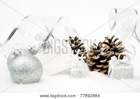 Silver Christmas Wishes Card On Snow