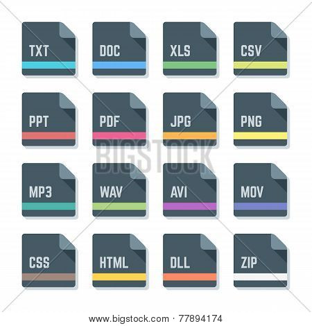 file formats minimal design icons set