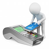 3d white people. Man paying with a mobile phone with NFC. Bank terminal. Isolated white background. poster