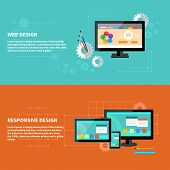 Concept for web design with computer and design tools and software and for responsive web design as seen on desktop monitor, tablet and smartphone poster