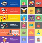 Icons for cash transactions, headwork, strategy planning, business tools start up observation creative team mind mapping brainstorm e-learning time is money. Concept of different icons in flat design poster