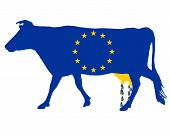 Detailed and colorful illustration of european milk subsidies poster