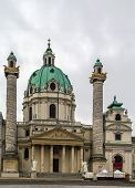 Karlskirche (St. Charles Church) has garnered fame due to its dome and its two flanking columns of bas-reliefs Vienna poster