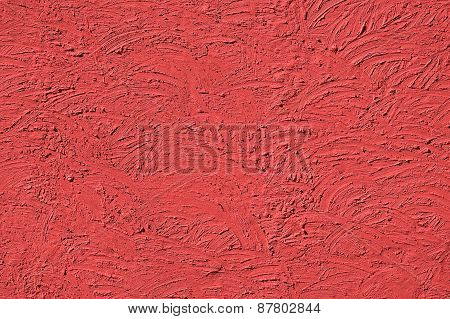 The Texture Of Light Red Walls Painted Large Erratic Strokes Of Pain