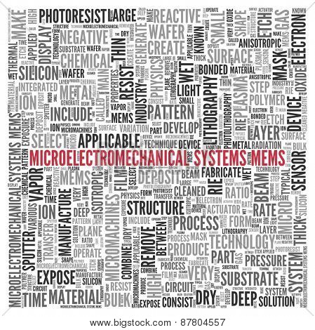 Close up Red MEMS Text at the Center of Word Tag Cloud on White Background.