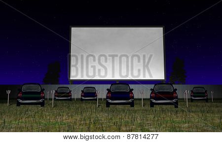Illustration of a Drive In Movie Theater