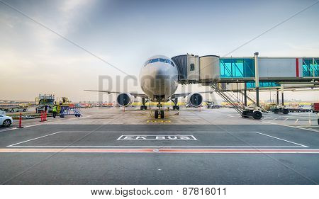Jet aircraft docked in Dubai international airport