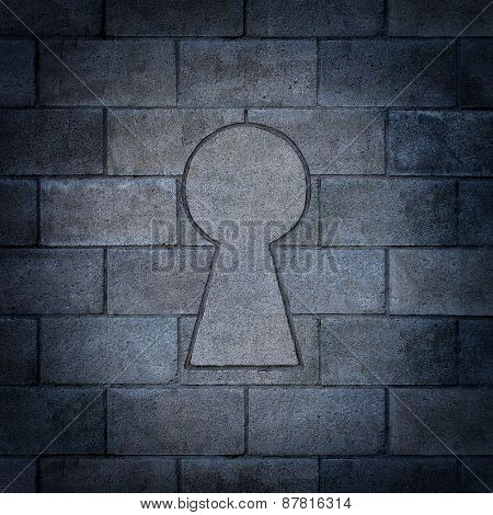Opportunity discovery as a wall made of concrete blocks with one cinder block shaped as a key hole as abusiness symbol or a secure firewall password concept. poster