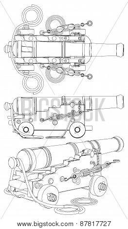 Ancient Ship Artillery Gun XVII - XIX-th Century Vector poster