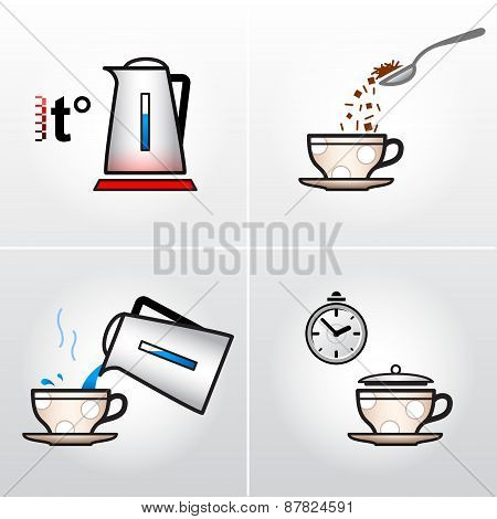 Icon Set For Process Of Brewing Tea, Coffee, Etc