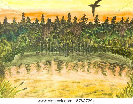 Bird On Sunset, Watercolours