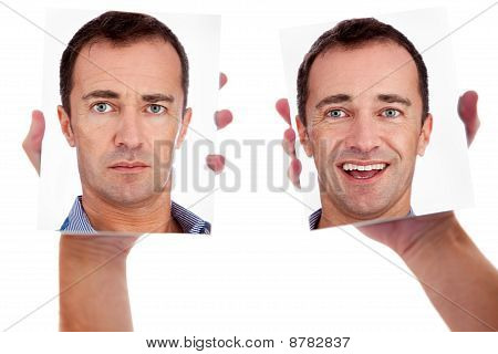 One Man, With Two Faces On The Mirror, Isolated On White, Studio Shot