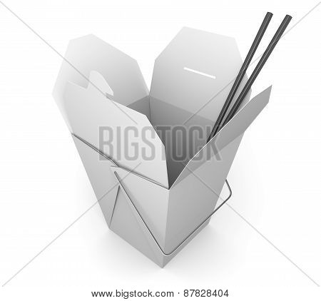 Opened paper carryout box with a pair of chopsticks, commonly used in Chinese and Asian fast food restaurants. poster