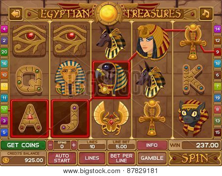 Egyptian slots game. Vector illustration