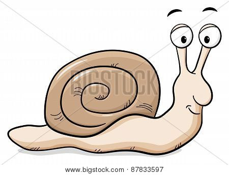 Cartoon Snail With Snail Shell
