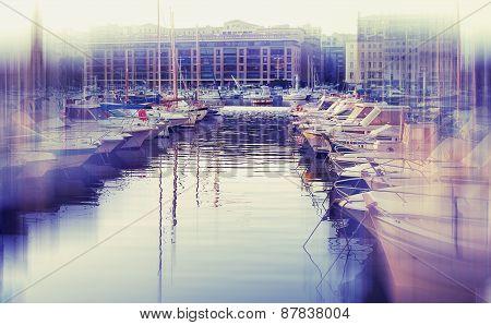 Abstrakt Background. Old Port Of Marseille. Blur Effect Defocusing Filter Applied, With Vintage Inst