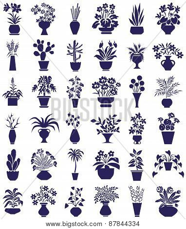 Potted Flowers Icons On White