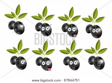 Funny set, collection of isolated, black olives with leaves and character, face - sadness, crying, s