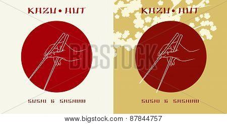 Sushi menu label or sushi bar logo template