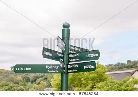 Sign Post At Kirstenbosch