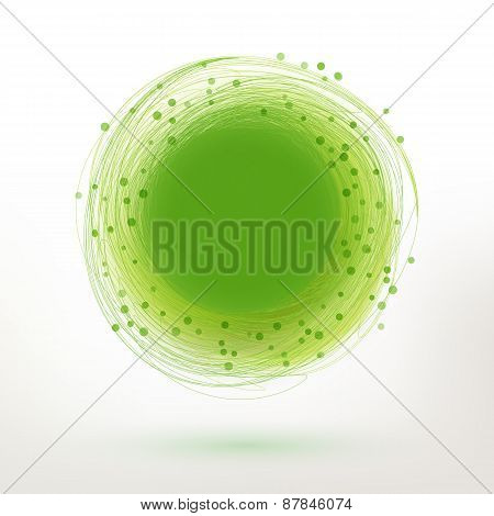 Vector Green Swirl Drawing Circle With Particles