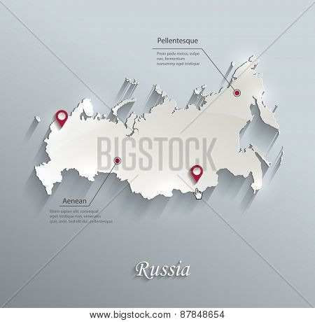Russia map blue white card paper 3D vector