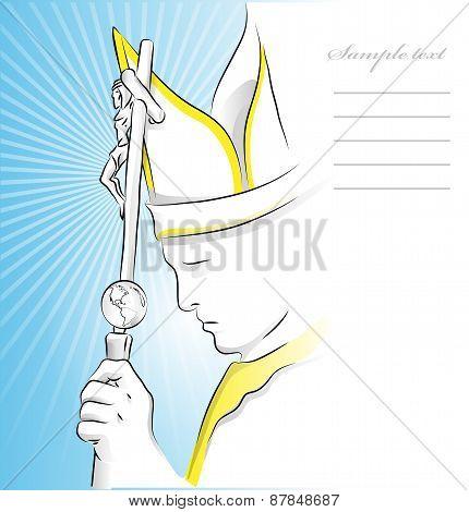 Pope On Blue Sky Background