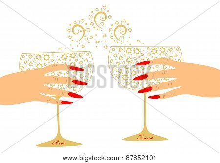 Toast two girlfriends with glasses of wine