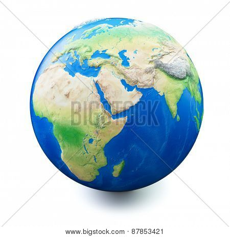 Earth isolated on white background with soft shadow. Map and earth data used is computer generated from www.naturalearthdata.com and  in public domain