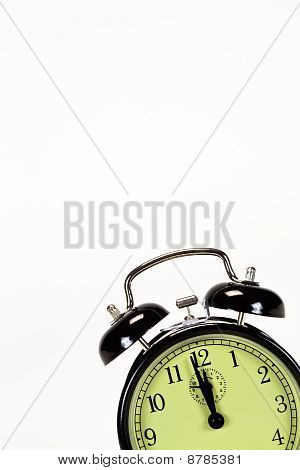 Black Alarm Clock Isolated On Corner Text Space Above Clock