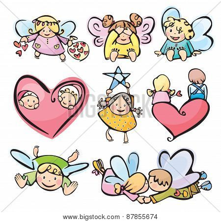 Vector  little angels cartoons.