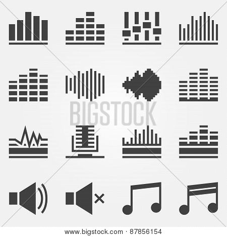 Sound or music sound wave icons vector set