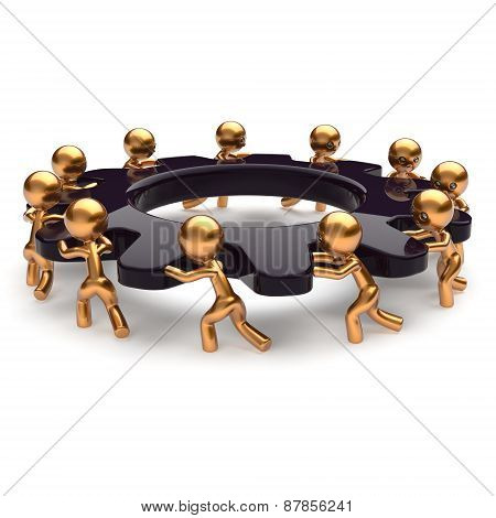 poster of Teamwork business unity brainstorm process mans start turning black gear together. Partnership team unity cooperation relationship community efficiency concept. 3d render isolated on white
